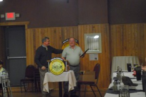 ARRL Atlantic Division Director Bill Edgar N3LLR and WPA Section Manager John Rodgers N3MSE speak at the Spring Banquet in Du Bois