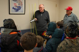 Show and Tell. Lars and Don exhibit their antenna craftsmanship for the surprisingly interested Cub Scouts!
