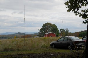 VHF, UHF and HF antennas were set up and working